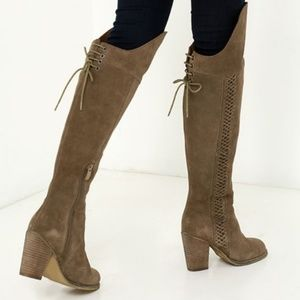 Sbicca Gusto Khaki Suede Over The Knee Boots